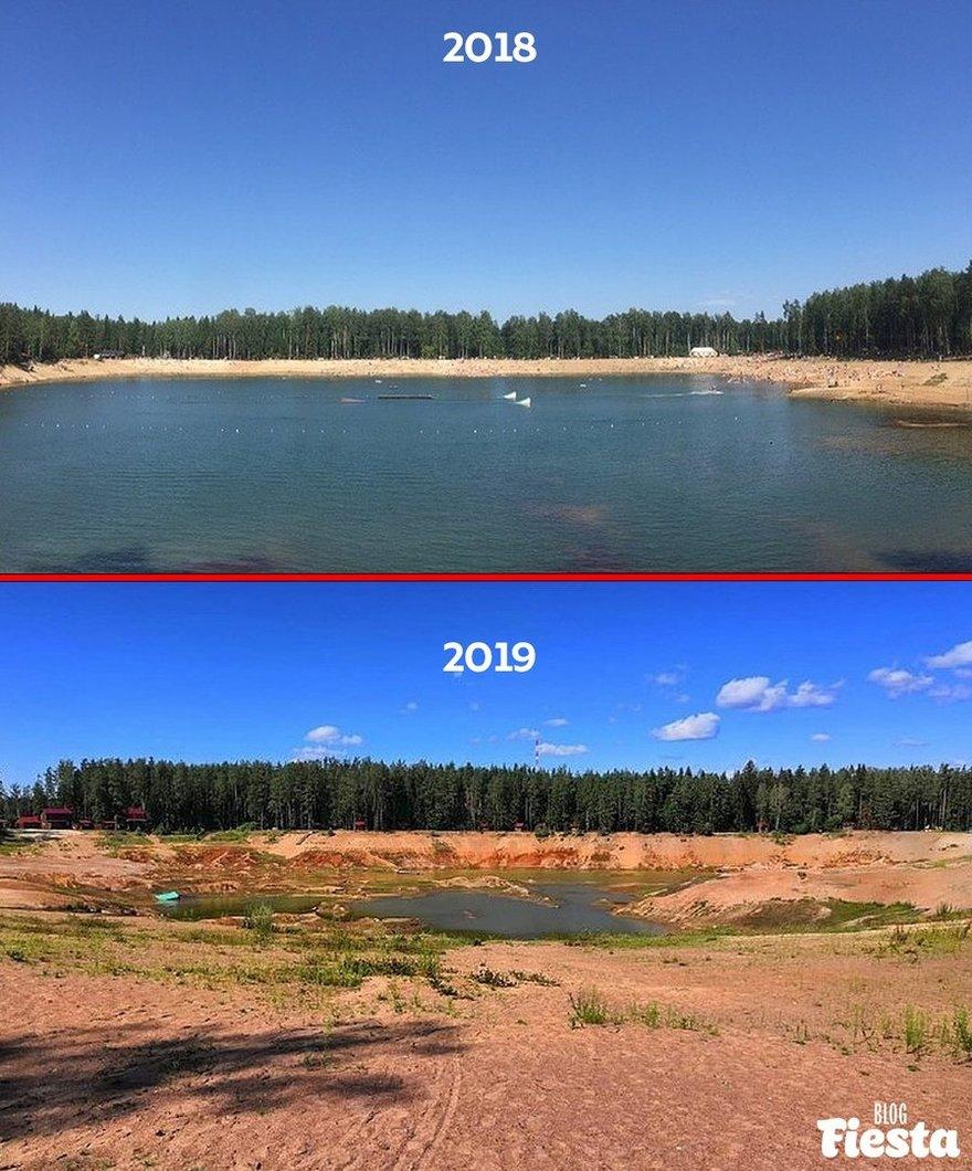 Страшно, но красиво: в Ленобласти за год обмелело озеро Лазурное